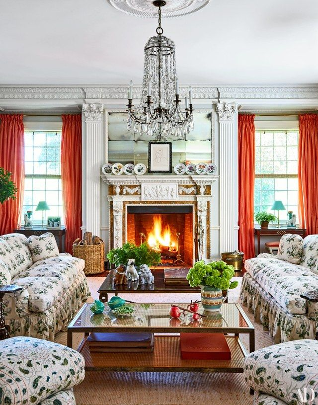 The living room sofas are upholstered in