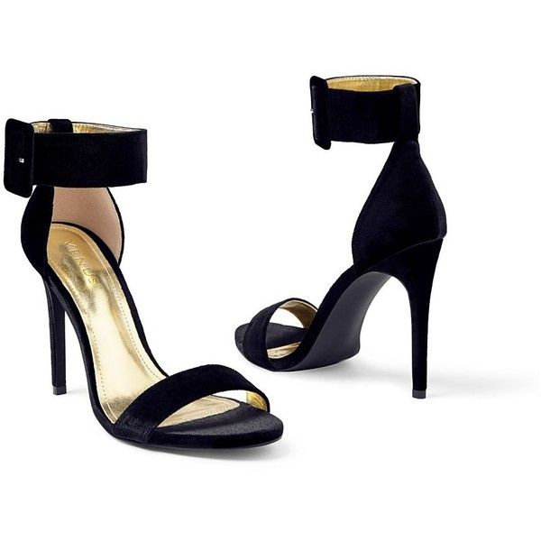 Venus Women's Velvet Buckle Heel ($23) ❤ liked on Polyvore featuring shoes, black, black high heel shoes, black velvet shoes, buckle shoes, black shoes and velvet shoes