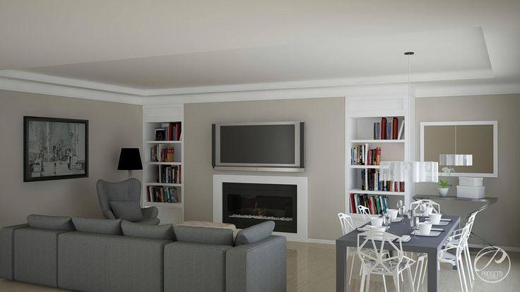Dom jednorodzinny w Aninie.  Elegancji salon w kolorze białym. Dodatki w modnym kolorze szarym.  Progetti Architektura