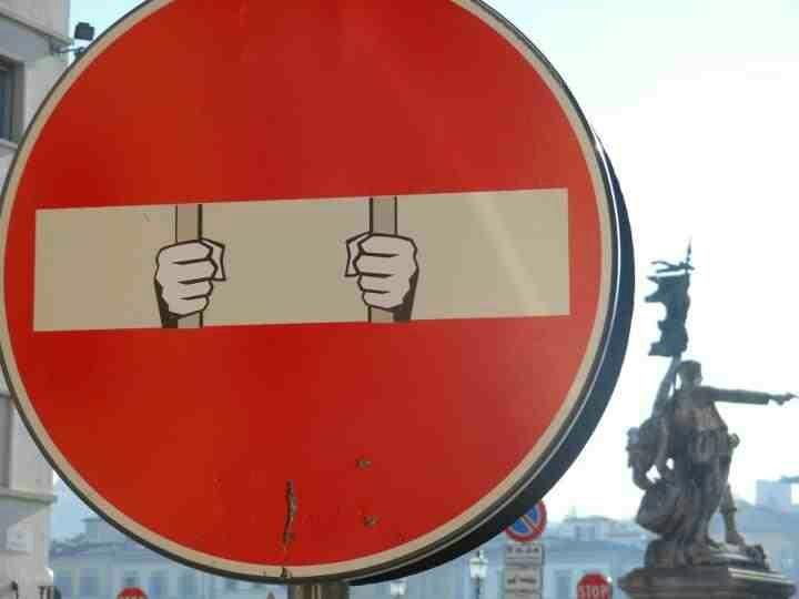 CLET street art urban art signs » no entry » prison