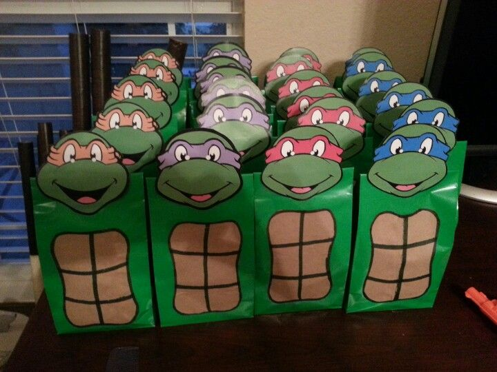 Tmnt Party Favor Bags I Made For Ethans Bday Gest Of The Season L Totes Save Up To 80 Off 25 99 3d Jp Pn Turtles Pinterest Turtle