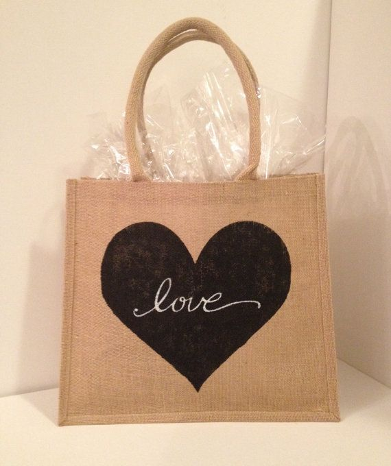 Love Burlap Tote by 2happygrlzdesign on Etsy, $20.00