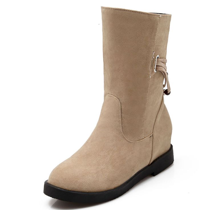 Concise fashion Female boots Article beaded belt decoration Nubuck leather Pure color Women Mid-calf Boots size 34-43 T2347
