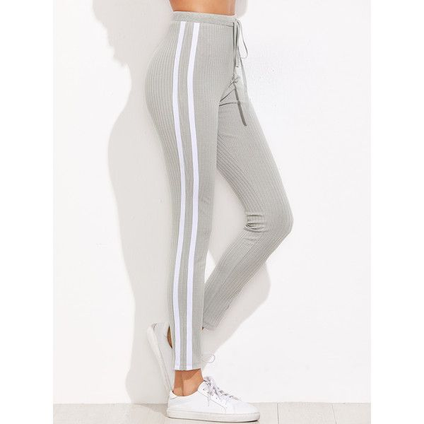 Grey Ribbed Knit Striped Sideseam Sweatpants ($16) ❤ liked on Polyvore featuring activewear, activewear pants, grey, skinny leg sweat pants, sweat pants, high waisted sweatpants, grey sweatpants and skinny sweatpants
