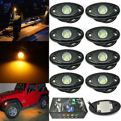 8x Off Road JEEP LED Under Body Rock Light Trail Rig 4X4WD ATV Golf Truck Yellow