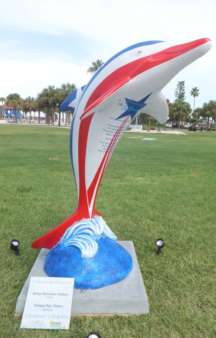 """""""America the Beautiful"""" dolphin, sponsored by Tampa Bay Times and done by artist Betsy Hawkins-Maher, is housed at Representative Carl Zimmerman's office in the Capitol, #1401, 402 South Monroe Street, Tallahassee."""