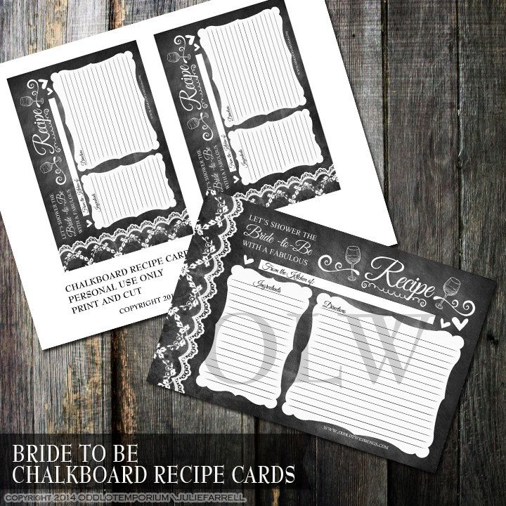 bridal shower invitations with recipe card attached%0A Rustic Chalkboard Recipe cards   Black and White Bridal Shower Favor    Digital Printable Chalkboard and