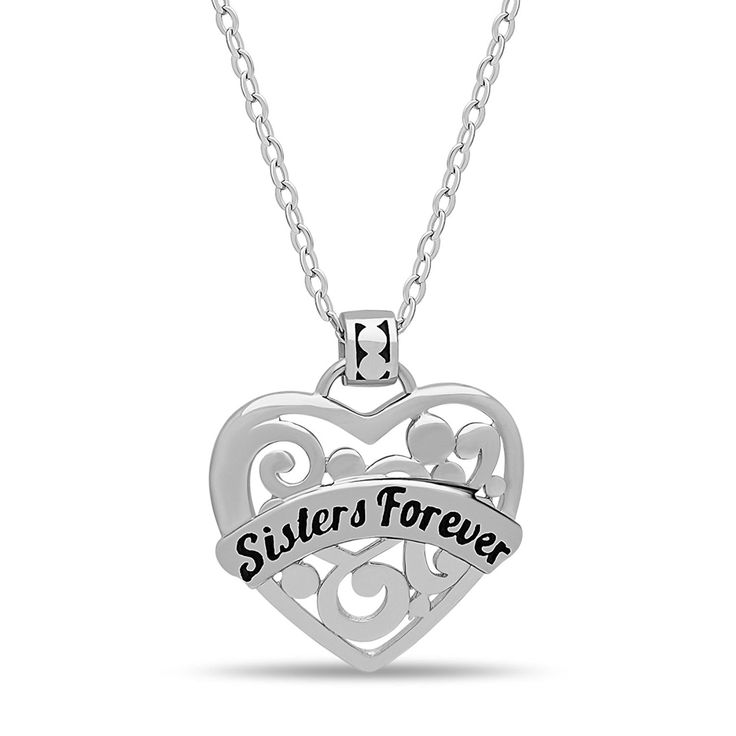 925 Sterling Silver Sister Heart Necklace Silver Heart Necklace for Sister Engraved w 'Sisters Forever' Silver Sisters Necklaces, Sisters Pendant Heart Chain 16'   2' Extension w Clasp * Learn more by visiting the image link. (This is an affiliate link and I receive a commission for the sales)