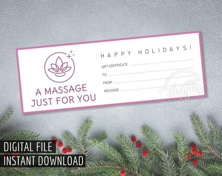 Christmas massage gift certificate printable gift etsy