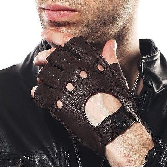 Gloves, Driving, Men's, Genuine Sheepskin, Half Finger