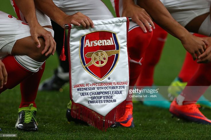 Detail of the Arsenal match pennant during the UEFA Champions League match between Arsenal FC and PFC Ludogorets Razgrad at Emirates Stadium on October 19, 2016 in London, England.
