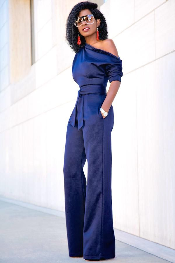 f7d70778d55 Navy Blue Slanted One Shoulder Wide Leg Formal Jumpsuit  fashion  style   oneshoulder  wideleg  blue  romper  pants  suit  legging