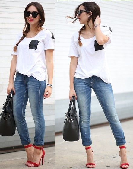 True Religion Blue Jeans, Beginning Boutique Top, Furor Moda Sunglasses, Beginning Boutique Red Shoes