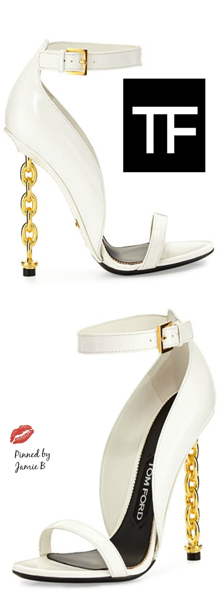 Tom Ford | Chain Heel Leather Sandal | Jamie B