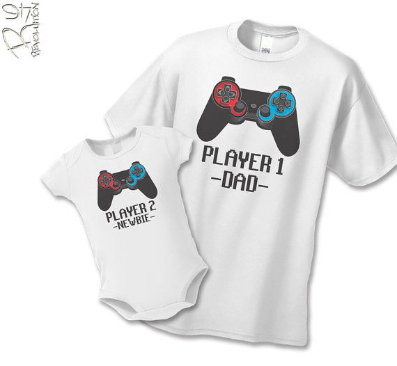 Gamer Dad and Newbie Shirt or Infant Bodysuit - Gamer Father Son Gift Set (2 shirts) - Matching Father Child Shirts - Player 1 Player 2