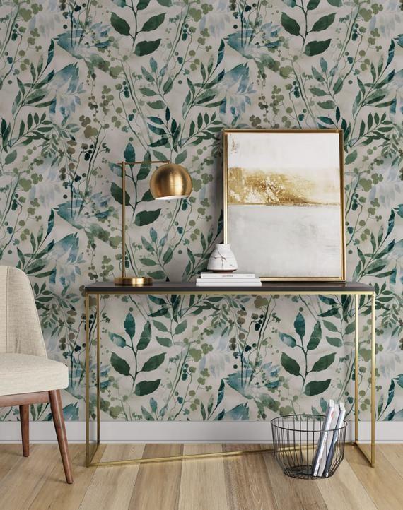 Watercolor Leaves Repositionable Wallpaper Peel And Stick Etsy Fabric Wallpaper Peel And Stick Wallpaper Watercolor Wallpaper