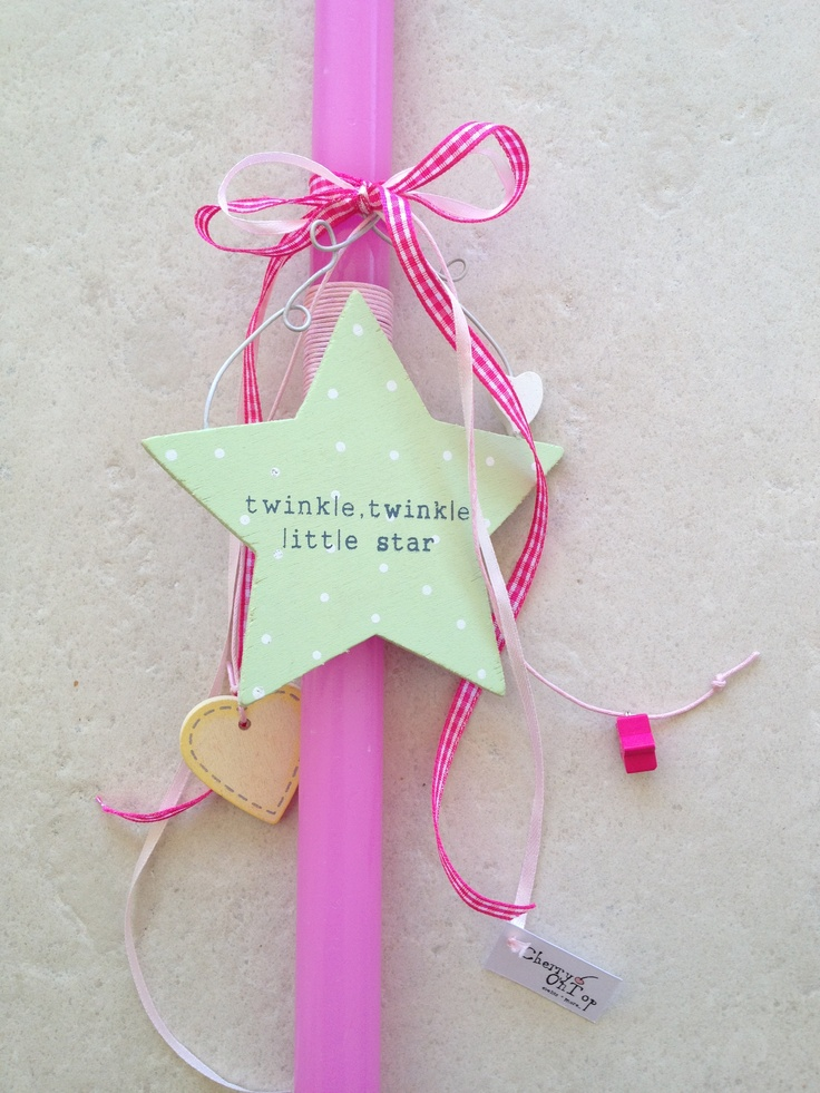 """Pink easter candle with wooden star """"twinkle twinkle""""!"""