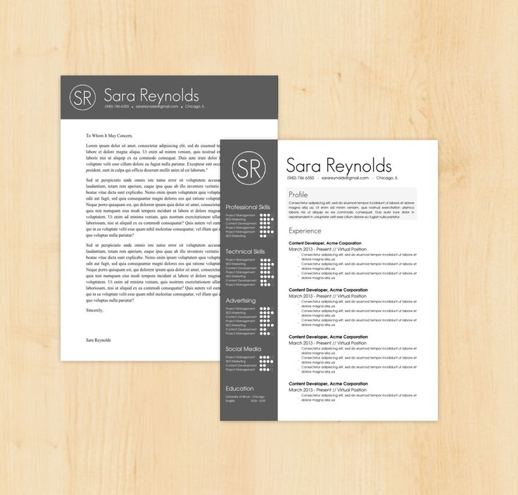 resume template cover letter template the sara reynolds resume design - Microsoft Cover Letter Templates For Resume