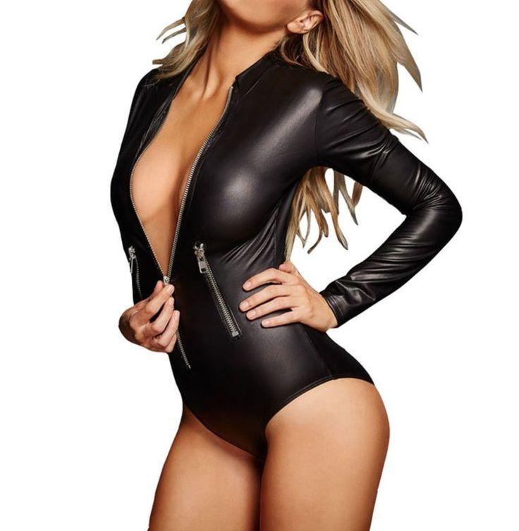 Leather Zip-detail Bodysuit