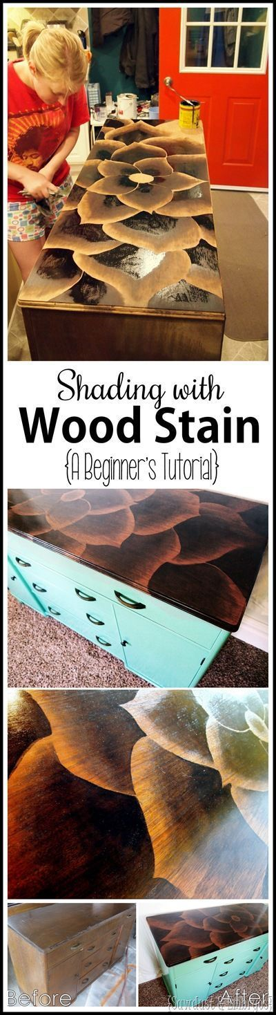Tutorial for making beautiful art on wood or furniture with WOOD STAIN! {Sawdust and Embryos}