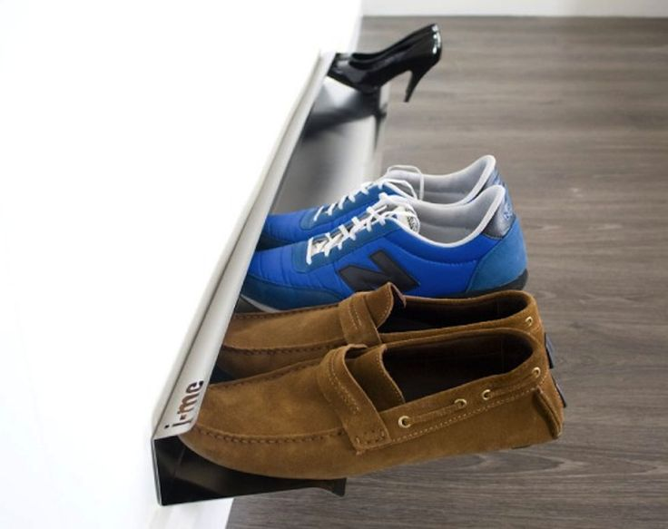 This shoe shelf organizes your shoes for ease of retrieval and saving space.