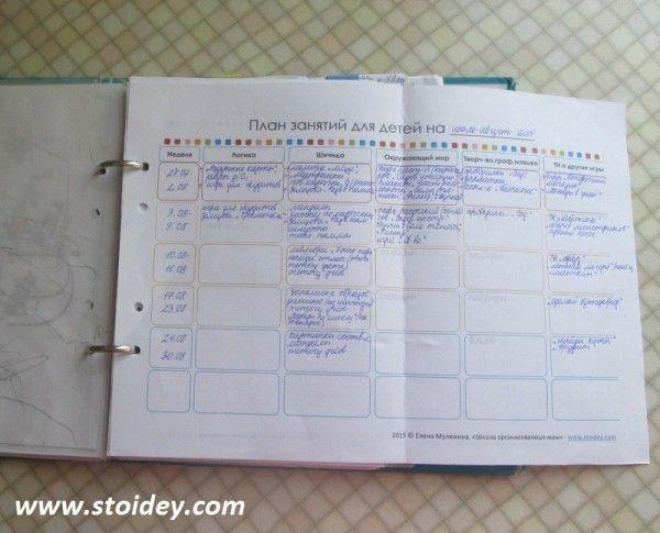 План занятий для детей на месяц