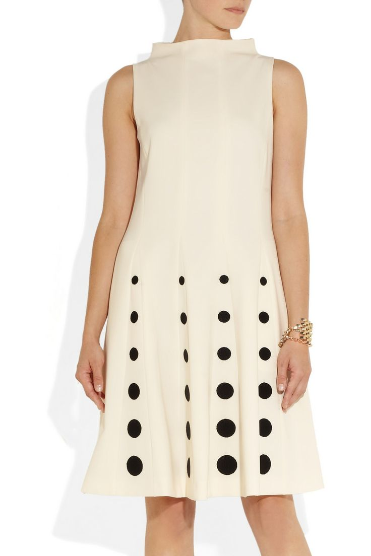 Moschino | Polka dot-embroidered crepe dress | NET-A-PORTER.COM