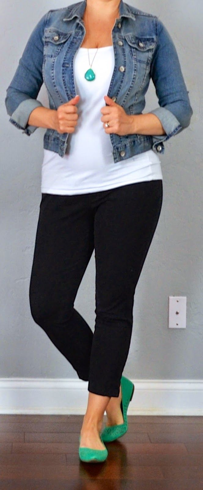 Outfit Posts: outfit post: jean jacket, white tank, black cropped pants, teal flats