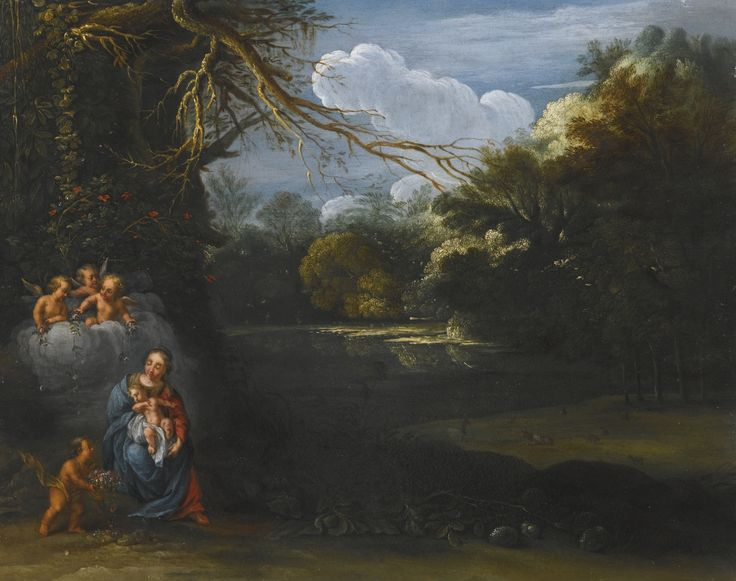 Circle of Adam Elsheimer THE MADONNA AND CHILD IN A LANDSCAPE WITH ANGELS oil on copper 19.5 cm by 24.8 cm.; 7 5/8  by 9 3/4  in.: