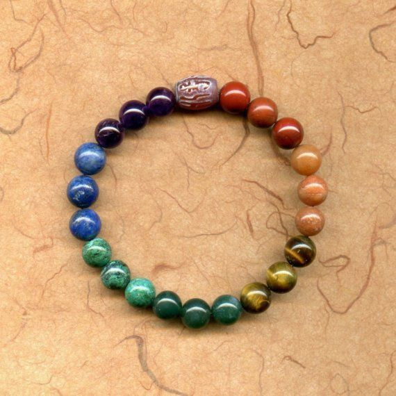 meditation bead bracelet mala with mantra bead - this is so cute; love it in the chakra colors!