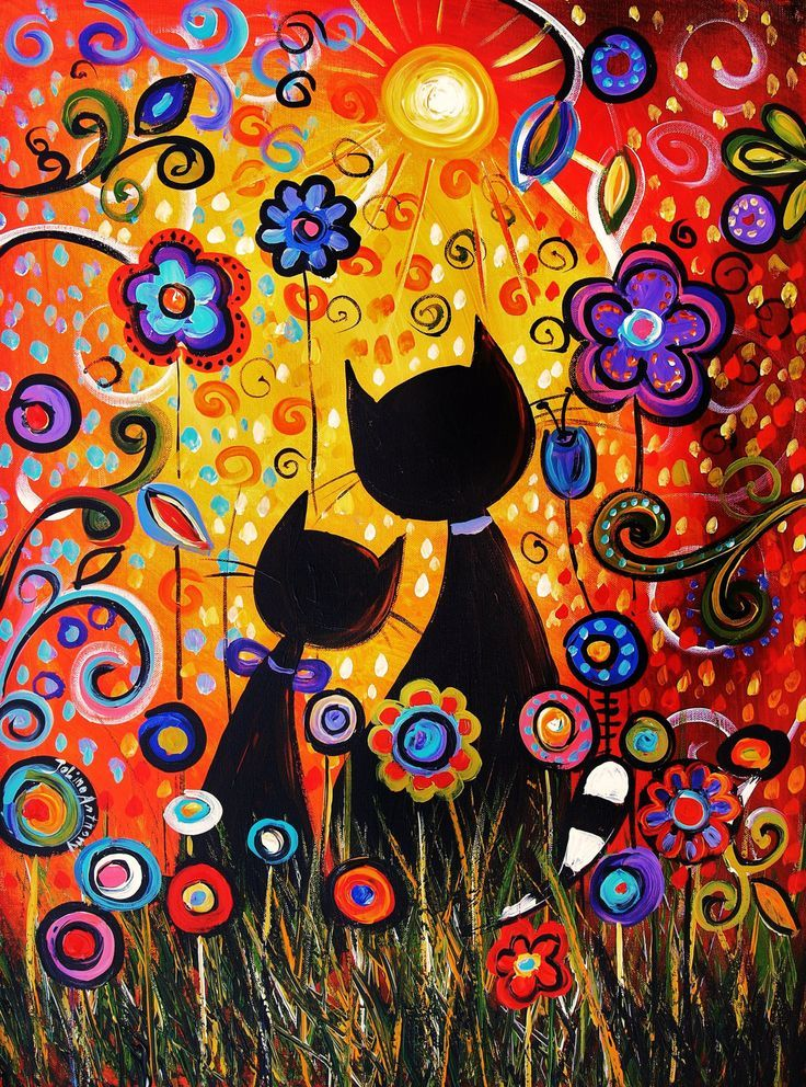"32"" original  NAIVE cat painting from listed artist Jolina Anthony free and fast shipping. $279.00, via Etsy."