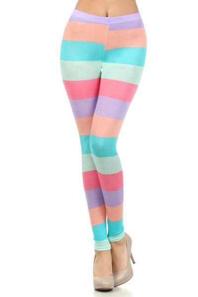 High waist stripe color block leggings