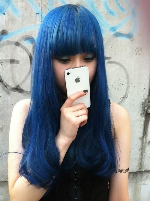 \o: Dyed Hair, Indigo Blue Hair, Hair Mak, Hair Colors, Beautiful Blue, Bluehair, Dark Blue Hair, Colour Hair, Colors Hair