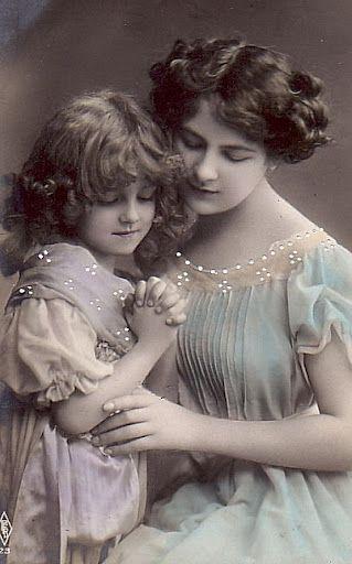 vintage photo image - mother & child