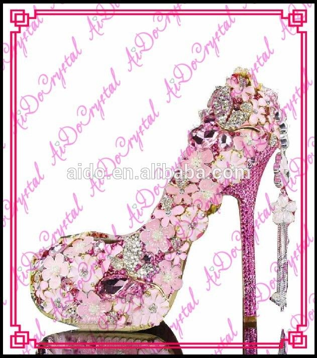 Aidocrystal Pink with hot pink Crystals Luxury Bridal wedding high heel shoes handmade 4.5inch  FOB Price: US $ 38 - 108 / Pair | Get Latest Price Min.Order Quantity: 1 Pair/Pairs Supply Ability: 1000 Pair/Pairs per Month toe women shoes