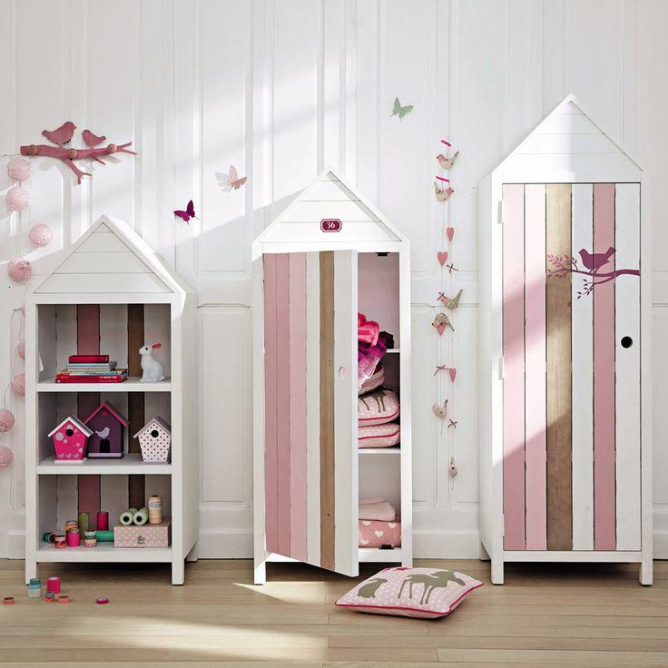 Kinderkleiderschrank Im Strandkabinen Look, Weiß/rosa