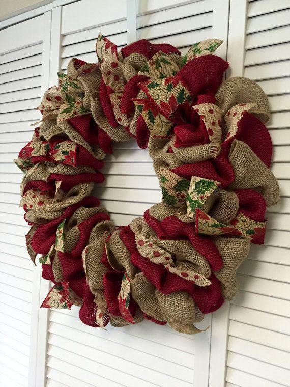 corona de navidad roja y verde arpillera por