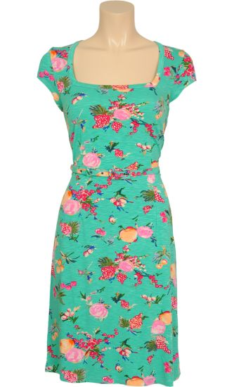 Vintage inspired summer dress with fruits in turquoise - King Louie SS2014