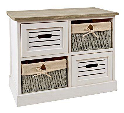 ts-ideen Cómoda estantería armario de madera estilo de la alquería rustico shabby para baño pasillo cocina sala blanco gris