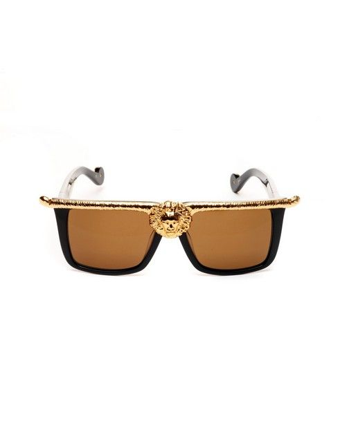 ANNA-KARIN KARLSSON Sunglasses Lion gold/black variant shaded brown lenses acetate material supplied with sunglasses case and box