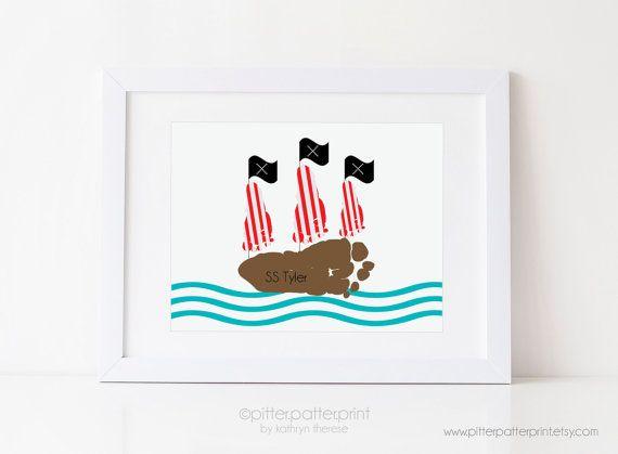 Pirate Ship Art Print Your Child's Footprints di PitterPatterPrint