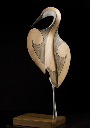 Kotuku (White Heron) | by Rex Homan | material : kauri, aluminum legs, rimu and painted fibre board MDF base. In Maori legend, the Kotuku accompanied the wairua (souls or spirits) of the dead from Cape Reinga at the tip of North Island, the spiritual place of departure, back to the world of their ancestors.