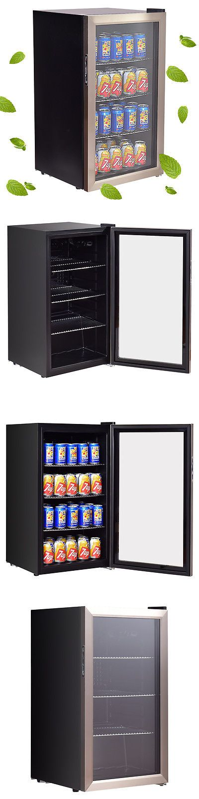 food and drink 120 can beverage beer wine soda drink cooler mini fridge glass - Mini Fridge Glass Door