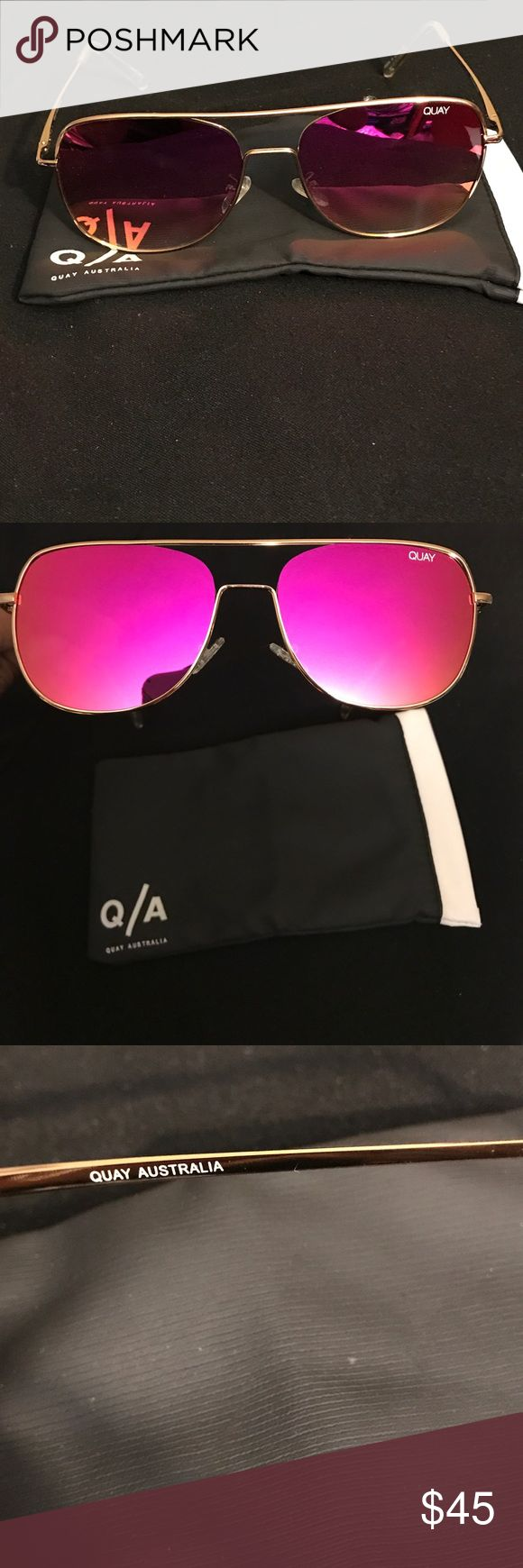 Quay Running Riot sunglasses! Really cool!❤️ I bought these online, then only wore them once or twice. They are lightweight and cool but I like heavier sunglasses. Hot pink/fuchsia mirror lens! Very light scratch on right lens but barely noticeable. My loss is your gain! 100% authentic, bought online through their store. I'm including the soft case and will pack them securely in a box. 🚫No trades, PP, Merc, lowballing, etc. Thank you for viewing my closet!❤️ Quay Australia Accessories…