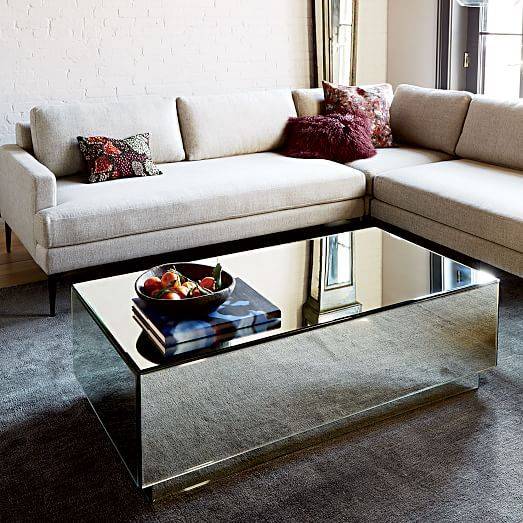 Geo Mirror Storage Coffee Table | west elm | also, west elm Andes sectional sofa