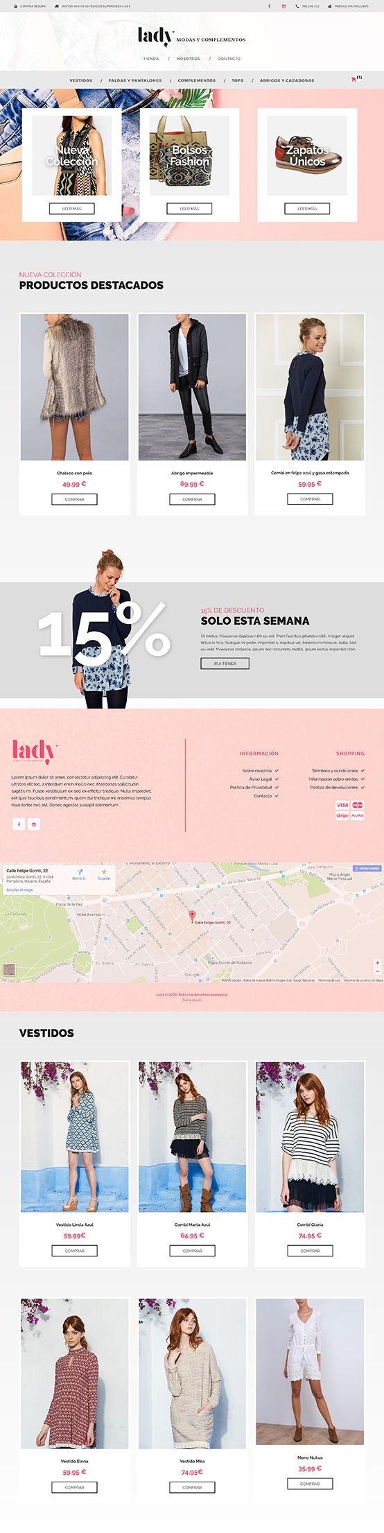 Lady Moda es un tienda online de venta de ropa y complementos, realizada con Jimdo personalizando la plantilla y los distintos elementos del e-commerce. Los productos disponen de una ficha completa con caracteristicas y precio enlazada desde las imágenes personalizadas de cada familia.