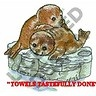 BROWN SEAL PUPS - WILDLIFE - 2 EMBROIDERED HAND TOWELS by Susan
