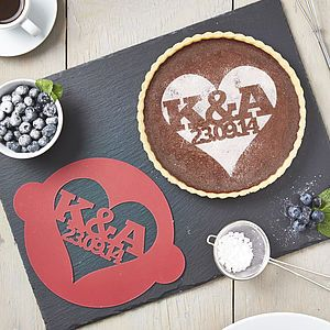 Personalised Special Date Heart Cake Stencil - personalised engagement gifts
