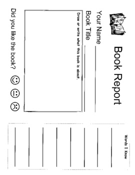 easy book report for kindergarten