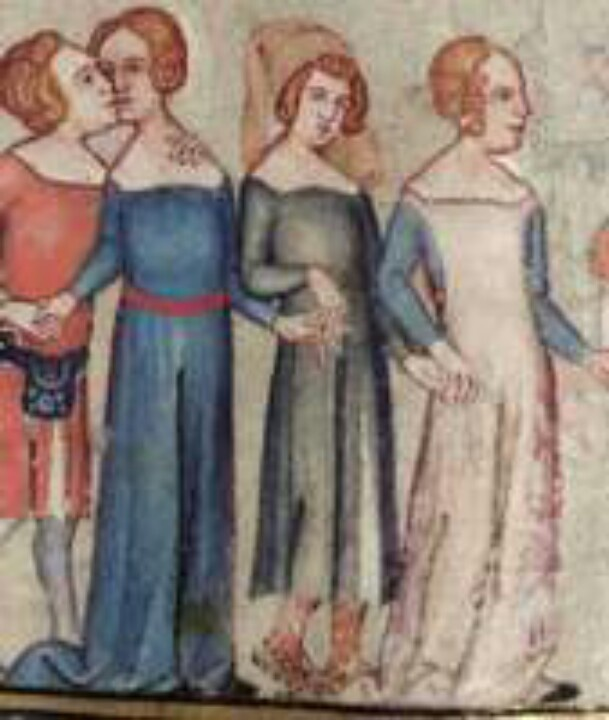 1338-44, French. From the Romance of Alexander; fol 58r Left: blue cotehardie, red sash at waist level. Right: blue cotehardie, pink sideless surcoat. Red sash visible under surcoat.  Early Gothic period